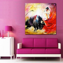 Hand Painted Oil Painting On Canvas Spain Pictures Modern Wall Art Home Decor Wall Picture Sets Wall Decor 0043(China)
