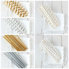 25pcs/lot Gold /Silver Foil Paper Straws for kids birthday & wedding decorative party event supplies Creative Drinking Straws(China)