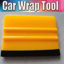 200Pcs Yellow Squeegee With Felt Edge For Car boat/ Bike Wrap Wrapping Tool Scraper Car Wrap Applicator Tool KITS WHOLESALE