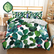 HELENGILI 3D Bedding Set Cactus Print Duvet cover set lifelike bedclothes with pillowcase bed set home Textiles #2-7(China)