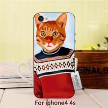 Animal Ginger  in Ski Jumper  poster  Adorable Colored Drawing Hard Back phone Accessories For case iPhone 4 4s