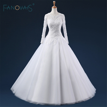 Vestido de noiva Long Sleeves Real Picture Wedding Gowns Sexy Floor Length A Line Lace Appliques Bridal Wedding Dresses ASAW89(China)