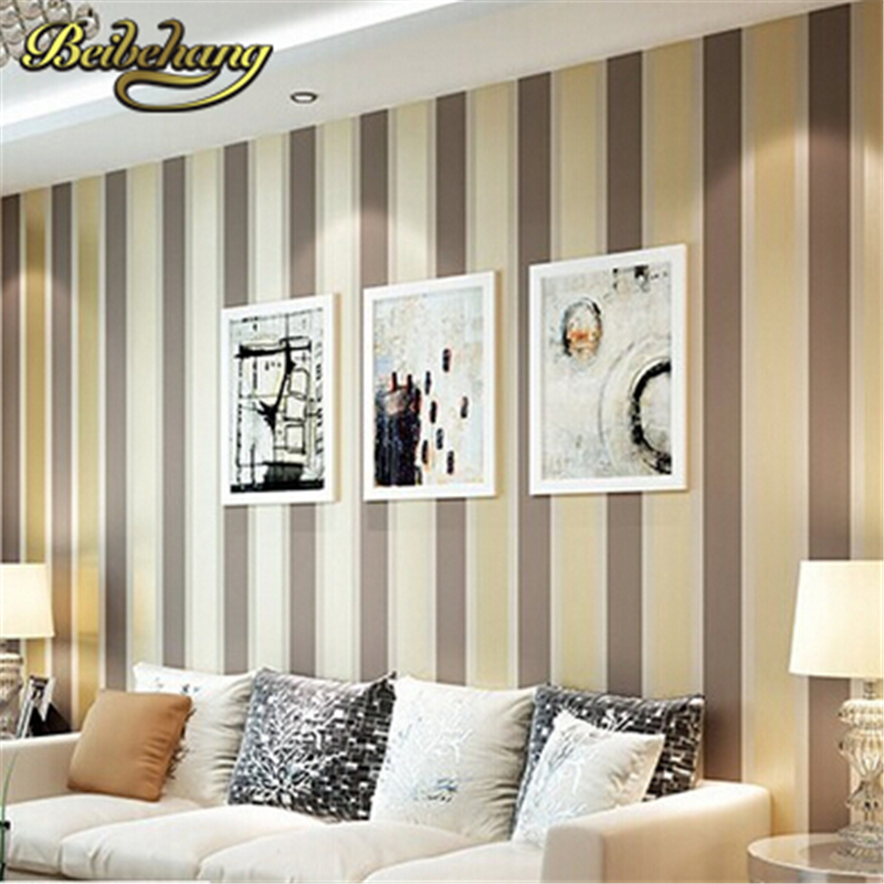 beibehang Modern fashion Luxury Vertical stripes wallpapers Glitter Non-woven wallpaper Roll Home Decoration silver Coffee Grey<br>