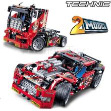608pcs Race Truck Car 2 In 1 Transformable Model Building Block Sets DIY Toys Gift Technology 42041 Decool Compatible With Lego(China)