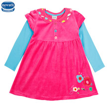 novatx H5622D baby girl floral dress high quality kids clothes spring autumn baby girls long sleeve dresses for girls hot top(China)