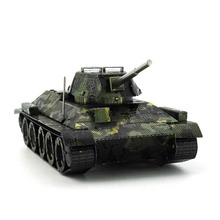 Panda model@Chinese T34 Tank 3D Puzzles Stainless steel metal model DIY 3 pieces or more 5% Discount Wholesale Military(China)