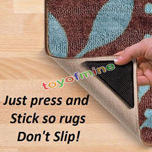 4pcs Rug Carpet Mat Grippers Non Slip Reusable Washable Silicone Grip Slip stickers Bathroom