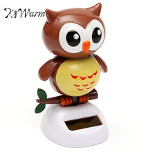 KiWarm Hot Sale Solar Powered Dancing Owl Automatic Swinging Head Owl Statues Crafts For Home Desk Office Car Ornament Toy Gift
