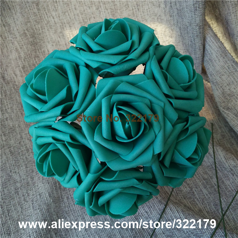 Turquoise wedding centerpieces reviews online shopping turquoise teal flowers artificial 100pcs turquoise green roses for wedding decoration centerpieces floral arrangement junglespirit Images