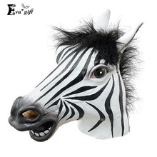 Fun Costume Halloween mask realistic latex horse head Interesting funny party masquerade masks silicone Zebra Cos Novelty mask