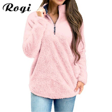 Rogi Pink Hoodie Sweatshirt Women Autumn Winter Loose Shirts Hoodies Zipper Jumpers Tracksuits Warm Pullover Sudadera Mujer S-XL(China)