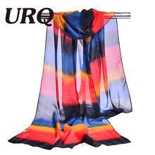 chiffon scarf print women's muslim lady chinese style spring and autumn small striped scarf patterns cape shawl wrap 2017 new