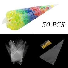 50pcs/lot DIY Wedding Birthday Party Sweet Cellophane Clear Candy Cone Bags Cheap Organza Pouches Decoration