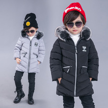 2017 Boys Girls Winter Coat Jackets for Girls Children Winter Outwear with Bigger Fox Fur Boys Black Jacket Toddler Winter Coats