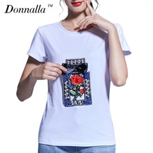 Donnalla Women T-Shirt Fashion Women's Perfume Bottle Printed Short Sleeve T-shirt Casual Basic Shirt Tops Women Clothing