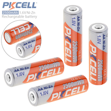 4pcs PKCELL 2500mWh 1.6V Ni-Zn AA Rechargeable Battery NiZn AA Battery with Over-current Protection for Toys Digital Camera MP4