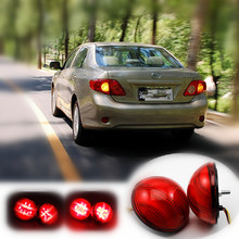 for 2007-2010 Toyota Corolla/Korolla Car LED Rear Bumper Reflector Lights Parking Brake Tail Light Round Lantern Reflectors Lamp
