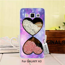 New Luxury fashion Black cell phone case  For GALAXY A3 2015 case  Bling Rhinestone Diamonds Crystal Heart pattern