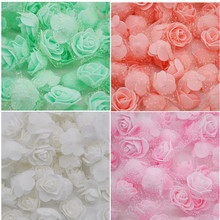 100pcs/lot PE Foam Rose Flower With Tulle Artificial Flowers Head Scrapbooking Handmade DIY Wedding Home Party Decorations(China)