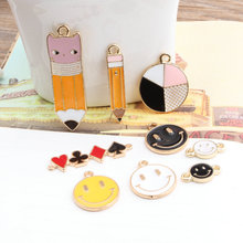 DIY Jewelry Findings Kawaii Enamel Alloy Pen Pencil Smiling Face Bracelet Connector Charm Craft Fit Phone Chain Keyring Necklace