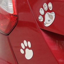 2pcs/lot Car Styling 3D Funny Chrome Car Sticker Bear Dog Paw Footprint Emblem car-covers Decal For renault ford vw opel mazda(China)