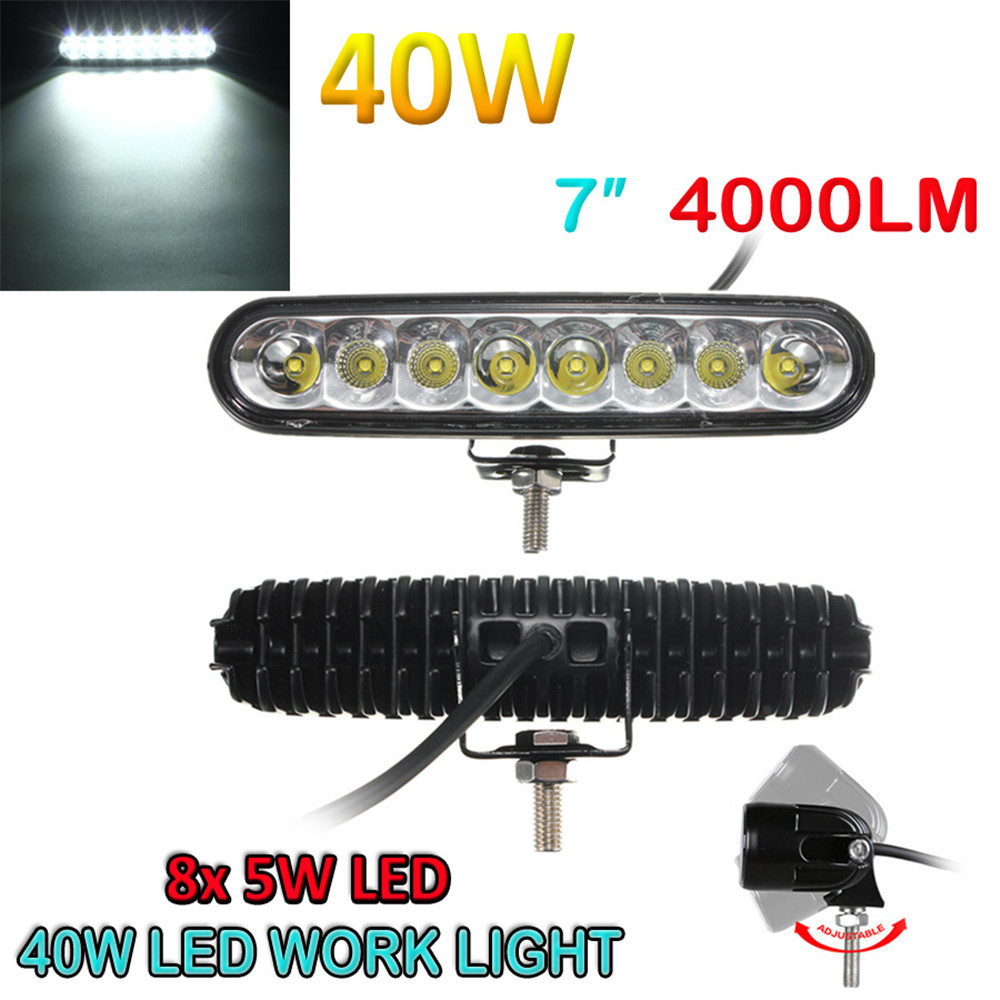 7inch Waterproof 40W Led Chips Flood Spot Combo for Vehicle Driving Led Lamp Work Light Bar OFFROAD Car 4WD Ellip Beam 4000LM<br><br>Aliexpress