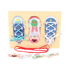 Montessori Educational Toy Wooden Threading Board Early Learning Toy Kids Practical Ability Develop Toy Lace Up Shoes Exercise(China)