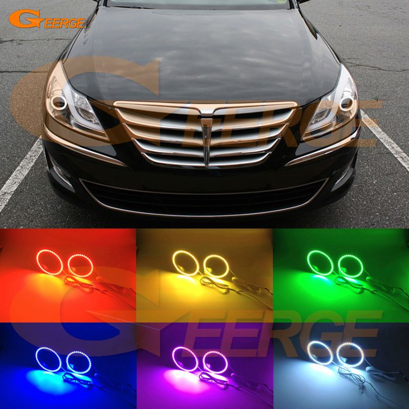 For HYUNDAI GENESIS 2012 2013 2014 Xenon headlight Excellent Multi-Color Ultra bright RGB LED Angel Eyes kit Halo Ring<br>