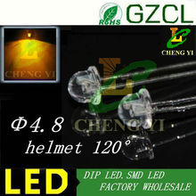 Alibaba supplier Dip 4.8mm Yellow led helmet shape led bulb 585-595nm 2.0-2,5V(CE&Rosh)