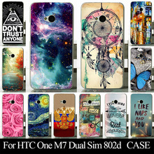 For HTC One M7 Dual Sim 802d Mobile Phone Cover Case High Quality Transpatent Soft Silicone tpu Color Paint Painting Case