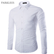 Brand White Men Shirt Long Sleeve Chemise Homme 2016 Fashion Business Design Mens Slim Fit Dress Shirts Casual Camisa Social