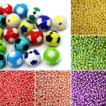 100pcs 8mm Acrylic Plastic Creative Colorful Foot Ball Pattern Women Girl DIY Jewery Loose Beads(China)