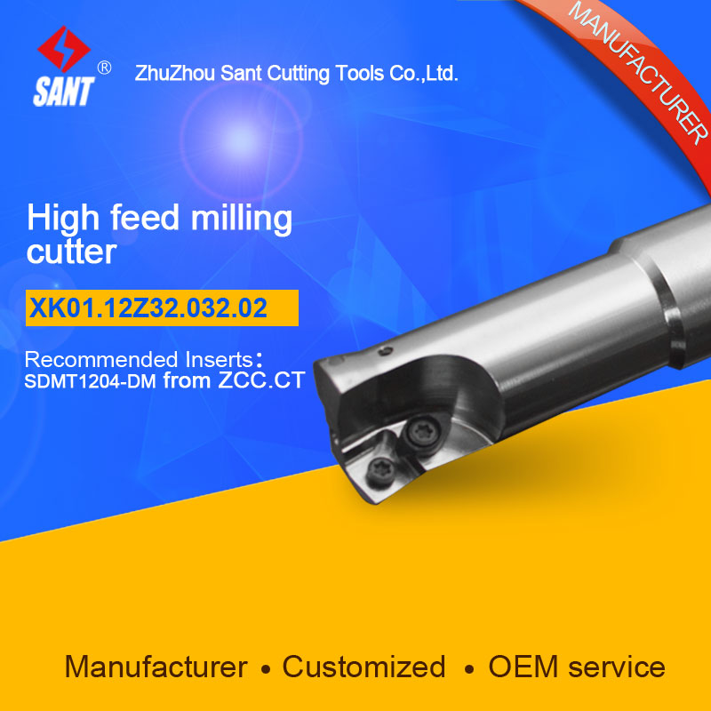 Suggested XMR01-032-G32-SD12-02  Indexable Milling cutter SANT XK01.12Z32.032.02 with SDMT1204-DM carbide insert<br>