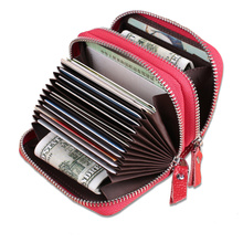 Fashion Genuine Leather Women Card Holder Double Zipper Brand Small Female ID Credit Card Case RFID Blocking Womens Mini Wallet(China)