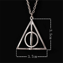 HSIC 12pcs/lot Wholesale Movie Deathly Hallows Necklace Fashion Rotated Triangle Pendant Chain Necklace Unisex Jewelry 10144(China)