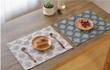 40x30cm Linen Cotton Mat Modern Tree Pattern Placemat Dining Table Mat Coaster Heat Insulation Pad Protector Table Decoration