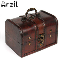 Vintage Jewelry Storage Box Metal Lock Wooden Organizer Case Wood Boxes Antique Retro Jewellery Candy Container Cases(China)
