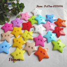 144pcs 16mm 2 holes Mixed color 5-pointed star scrapbooking buttons plastic sewing buttons clothing craft accessories wholesale