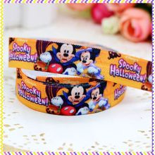 5/8'' Free shipping Fold Over Elastic FOE halloween mickey printed headband headwear hair band diy decoration wholesale OEM B594