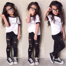 2016 Newest Stylish Kids Baby Girls Clothes Sets 2PCS England Style  Letter Tops T-shirt Hollow Out Pants Outfits Set Age 2-7Y