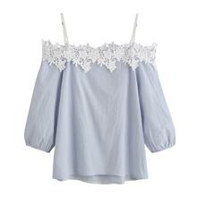 Women's Casual Summer Shirt Harness Lace Slash-Neck Blouses  Long-sleeved Clothing Tops new
