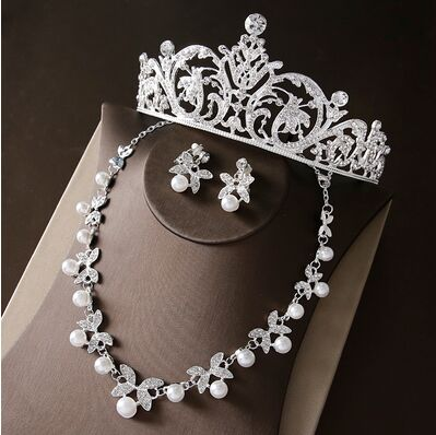 2017 New Silver Crystal Necklace Earrings for Women Wedding Jewelry Sets Whit K Plated Bridal Jewelry Sets With Tiaras & Crowns (6)