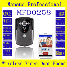 Professional Smart Home Black HD 720P Wifi Wireless Video Door Phone Doorbell  Intercom With GSM waterproof  IP55 function D258a