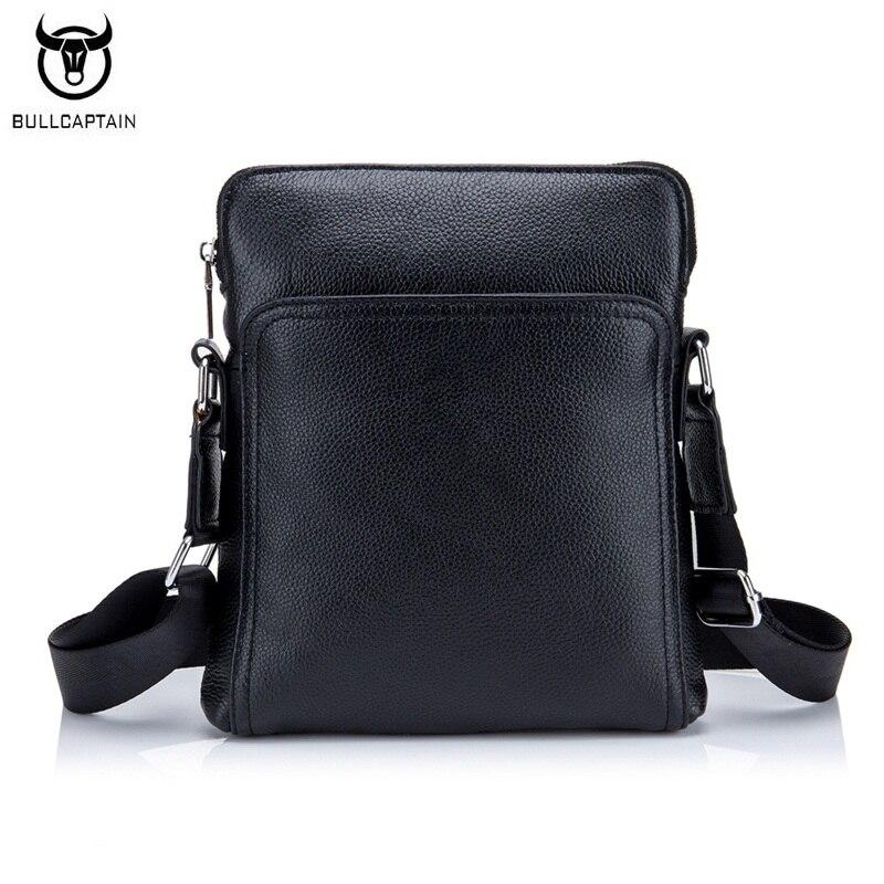 BULLCAPTAIN Fashion Genuine leather Men Bag Cowhide Casual Business Men Messenger Shoulder Bags Man Travel Small Briefcase Black<br>