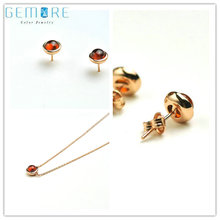 Gemore G11 Set Round Natural Red Gemstone Ttl 2.8CT Garnet 925 Sterling Silver Women Jewelry Set Neck Lace Stud Earring Gift(China)