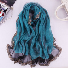 New Women Spring And Summer Mulberry Silk Scarf Muslim Style Lace High Quality Scarves Female Solid Color Shawls