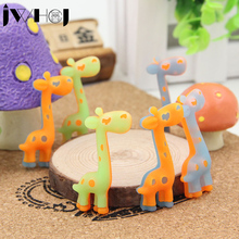 3 pcs/lot JWHCJ Novelty cute giraffe luminous rubber eraser kawaii creative stationery school supplies papelaria gifts for kids(China)