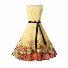 Women Retro Dress 50s 60s Vintage Rockabilly Swing Feminino Vestidos Floral Butterfly Pattern Sleeveless Party Dresses With Sash(China)