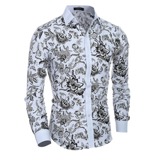 Men Flower Shirt 2017 New Autumn Printing Fashion Casual Slim Fit Hawaiian Dress Shirts Camisa Masculina Chemise Homme