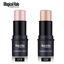 Magical Halo 2 Color Face Contouring Makeup Shimmer Stick Highlighter Stick Pen Brighten Skin 3D Face Bronzer Highlighter Powder(China)